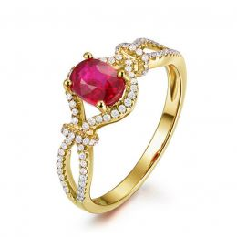 Bague rubis 1 carat or jaune. Diamants sertis