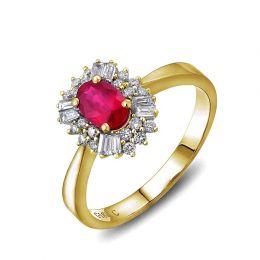 Bague fiançailles rubis, diamants or jaune