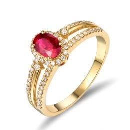 Bague fiançailles rubis or jaune. Diamants