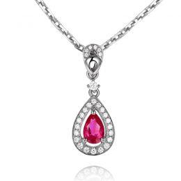 Pendentif princesse Or blanc 18cts - Rubis poire et diamants
