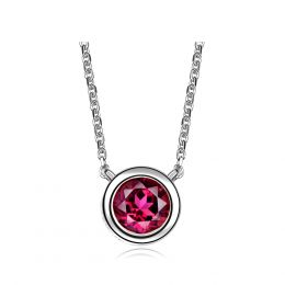 Collier pendentif solitaire rubis Or blanc