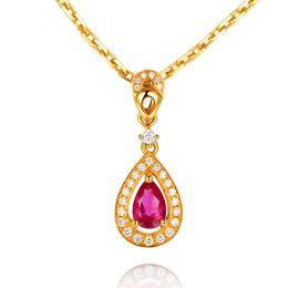 Pendentif princesse Or jaune 18cts - Rubis poire et diamants