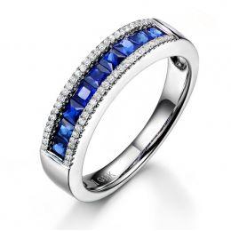 Bague saphir diamant or blanc - Lumière Azurée