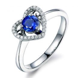 Bague coeur diamant saphir. Or blanc. Love me tender