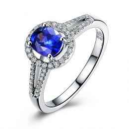 Bague de fiançailles saphir 0.90 carat. Or blanc, Diamants