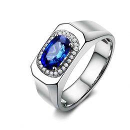 Chevalière Homme Or blanc.  Saphirs, diamants 2.00ct