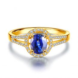 Bague de fiançailles saphir 0.90 carat. Or jaune, Diamants