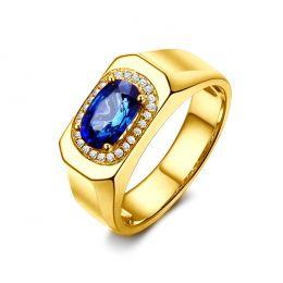 Chevalière Homme Or jaune. Saphirs, diamants 2.00ct
