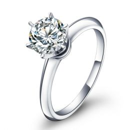 Bague solitaire brillant - Monture or blanc Timeless