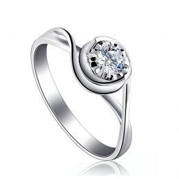 Solitaire anneau ensorcelé - Or blanc 18cts et diamant 0.20ct