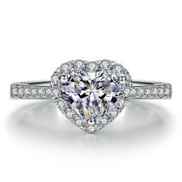 Bague cœur solitaire - Or blanc 18 carats - Diamants