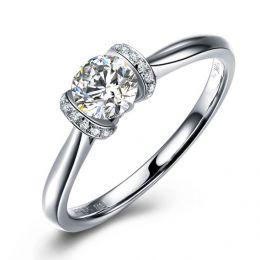 Diamants sertis - Or blanc 18 carats - Bague solitaire
