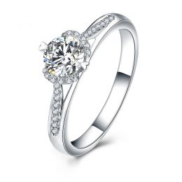 Bague solitaire Or blanc 0.70ct. Diamant central 1/2 carat