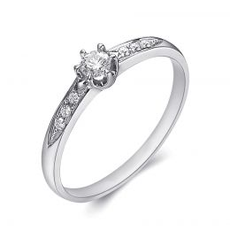 solitaire Alliance accompagné diamants. Or blanc