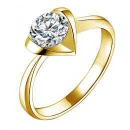Bague solitaire or jaune - Diamant 0.50ct - Coeur majestueux