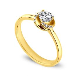 Solitaire tourbillonnant or jaune - Diamants sertis griffes, grains