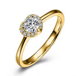 Bague or jaune - Solitaire Mon coeur pavé de diamants