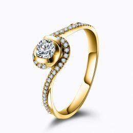 Solitaire or jaune diamants - Je t'appartiens