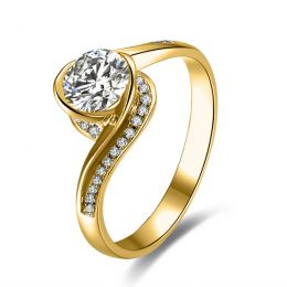 Diamants 0.57ct sur bague type solitaire en or jaune - Baudelaire