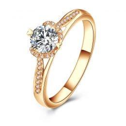 Bague solitaire Or jaune 0.70ct. Diamant central 1/2 carat