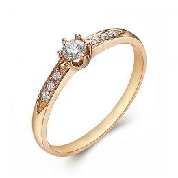 Alliance solitaire accompagné diamants. Or jaune