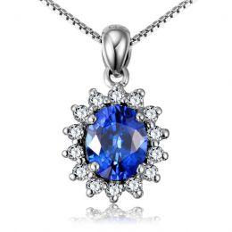 Breloque en fleur - Or blanc 18 carats - Diamants et saphir