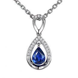 Pendeloque Or blanc 18 carats - Saphir et Diamants en poire