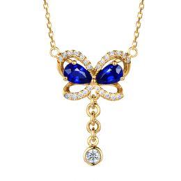 Pendentif papillon saphirs et diamants. Or jaune 18cts