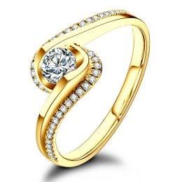 Solitaire en diamants 0.33ct - Or jaune - Baudelaire - A une passante