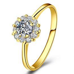 Bague or jaune solitaire - Coeur caillouté - Diamants pavés 0.33ct