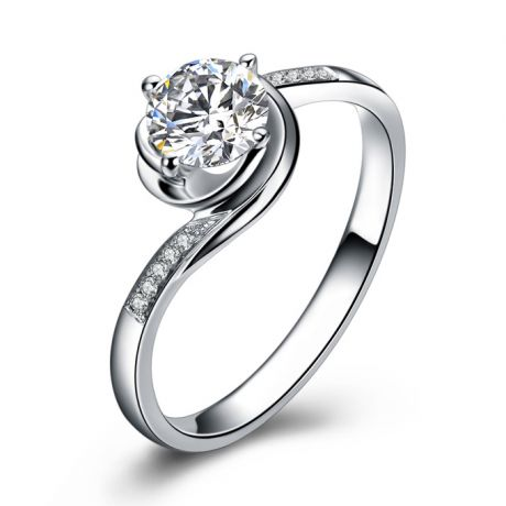 Bague de fiancailles rose vertige. Solitaire or blanc, diamants 0.35ct