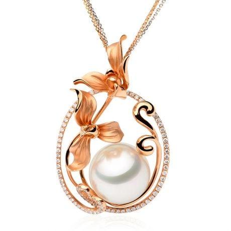 Pendentif Orchidée Or rose, diamants et perle d'Australie