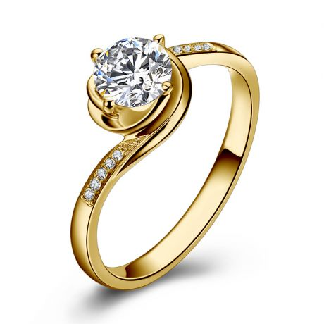 Bague de fiancailles rose vertige. Solitaire or jaune, diamants 0.35ct