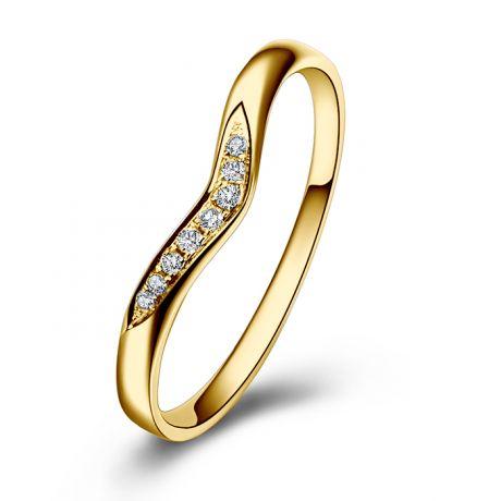 Alliance ondulée Élysée - En or jaune et diamants sertis
