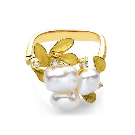 Bague Secret Flower 2nd en perles d'Australie baroques