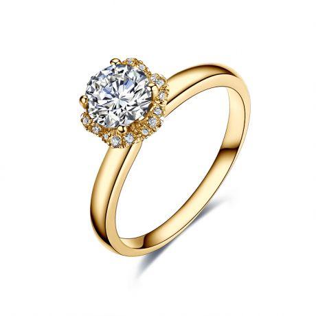 Solitaire bague diamanté & Or jaune. Captivante renoncule