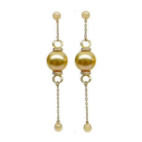Pendants d'oreilles. Chainettes Or jaune, perles d'Australie dorée et diamants