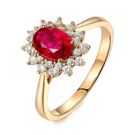 Bague rubis Or jaune. Double pavage diamants. Inspiration florale