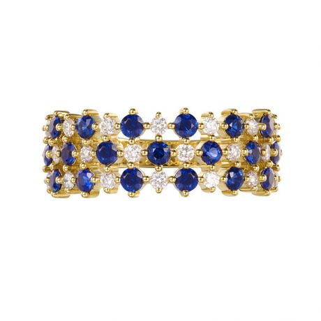 Bague en damier Saphir & Diamant sur Or jaune | San Lorenzo