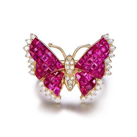 Bague Papillon argent. Rubis Birmanie, Or jaune et diamants