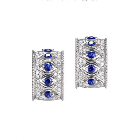 Boucles Oreilles Or blanc, saphir & diamant