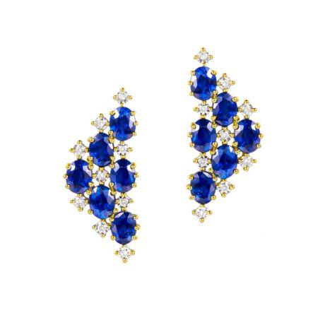 Boucle d oreille Triangle des Bermudes - Saphir, or jaune, diamant