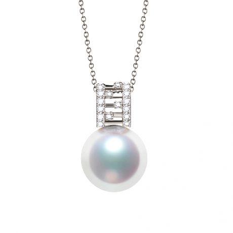 Pendentif Mikiko perle Akoya du Japon. Or blanc, diamants