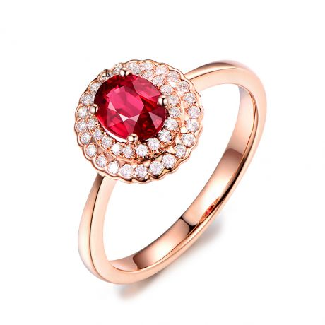 1 rubis, des diamants et de l'or rose : Bague Florali