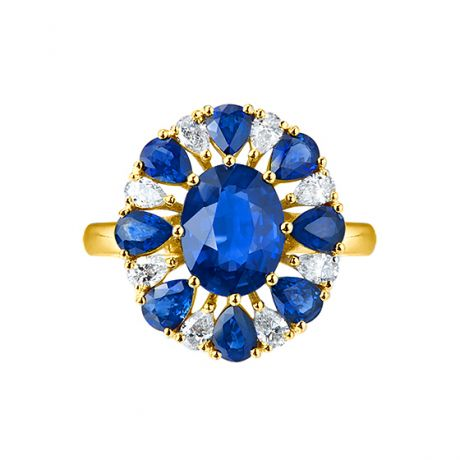 Bague saphir diamant marguerite -  Or jaune