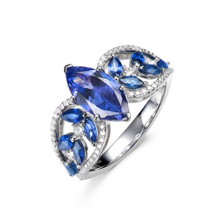 Bague Mère Nature - Tanzanite & Saphir bleu - Or blanc, diamant