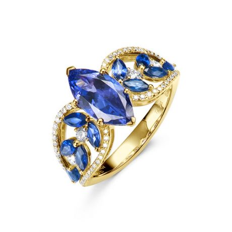Bague Mère Nature - Tanzanite & Saphir bleu - Or jaune, diamant