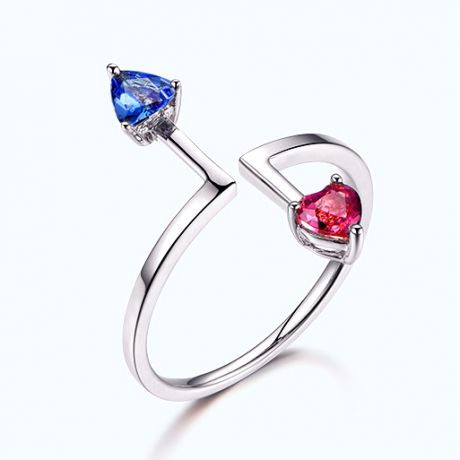 Bague Vice et Versa. Tourmaline, tanzanite. Or blanc