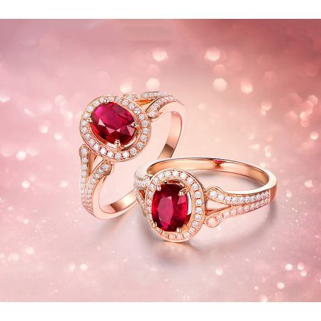 Bague Mogok, rubis de Birmanie.  Or rose et diamants