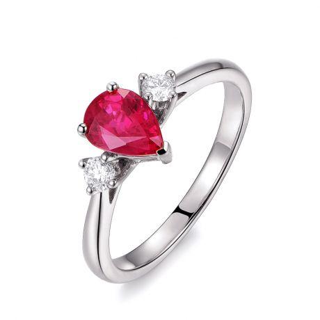 Bague Amour. Or blanc, rubis 1ct taillé en poire, diamants